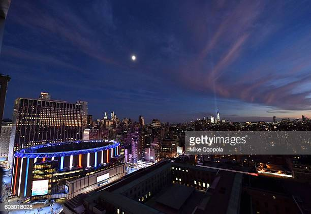 A view of the 'Tribute in Light' for the 15th anniversary of 9/11 during New York Fashion Week The Shows at Skylight at Moynihan Station on September...