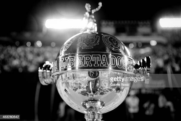 A view of the trophy during a first leg final match between Nacional and San Lorenzo as part of Copa Bridgestone Libertadores 2014 at Defensores del...