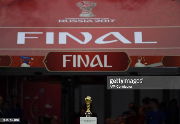 View of the trophy during the 2017 Confederations Cup final football match between Chile and Germany at the Saint Petersburg Stadium in Saint...