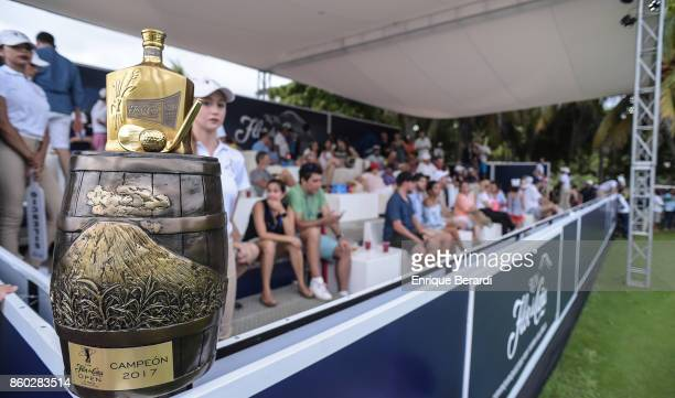 View of the trophy on the 18th hole during the final round of the PGA TOUR Latinoamérica Flor de Cana Open at Mukul Beach Golf and Spa on September 3...