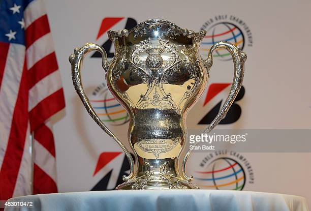 A view of the trophy won by George Lyon of Canada at the 1904 Olympic games during an Olympic Golf press conference at the World Golf...