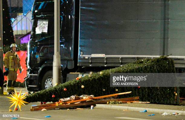View of the truck that crashed into a christmas market at Gedächtniskirche church in Berlin on December 19 2016 killing at least nine people and...