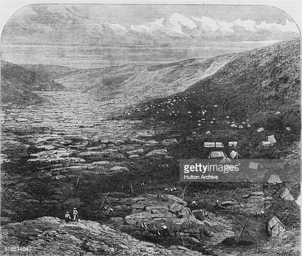 A view of the Tuapeka goldfields in Otago New Zealand during the Central Otago Gold Rush circa 1863