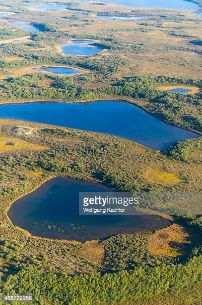 View of the tundra with lakes and muskeg during the flight by seaplane from King Salmon on the Katmai Peninsula in Alaska USA to Brooks Lake in...
