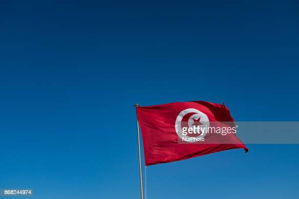 A view of the Tunisian flag from the center of the Kasbah square in Tunis Tunisia on 17 septembre 2017