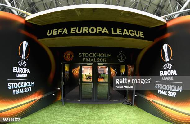A view of the tunnel area ahead of The UEFA Europa League Final between Ajax and Manchester United at Friends Arena on May 23 2017 in Stockholm Sweden