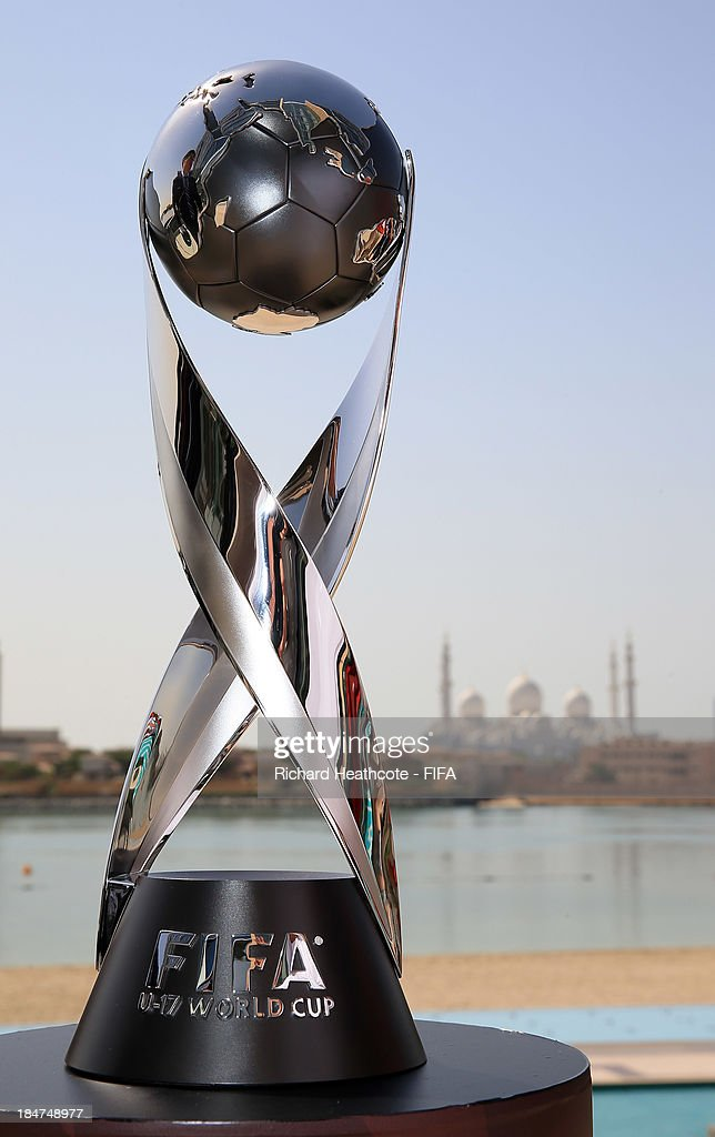 A view of the U17 World Cup Trophy with the Sheikh Zayed Grand Mosque in the background on October 16, 2013 in Abu Dhabi, United Arab Emirates.