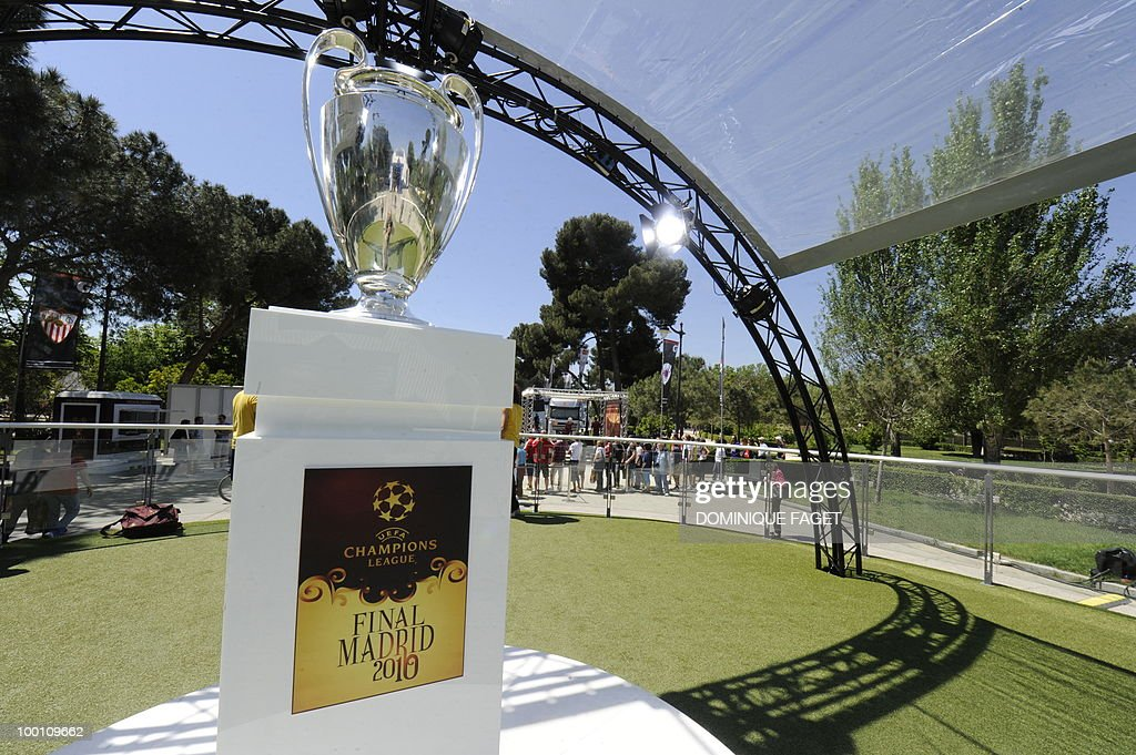 View of the UEFA Champions League Cup on display at the Retiro Park in Madrid on May 21, 2010 ahead of the UEFA Champions League final. Inter Milan will face Bayern Munich for the UEFA Champions League final match to be played at the Santiago Bernabeu Stadium in Madrid on May 22, 2010.