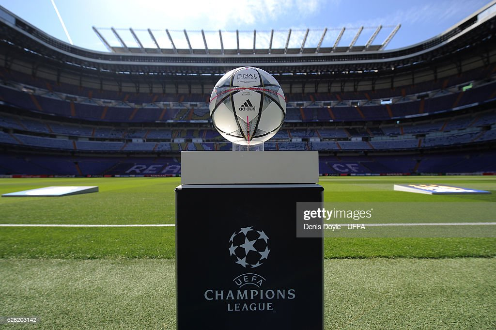View of the UEFA Champions League matchball ahead of the UEFA Champions League Semi Final second leg match between Real Madrid and Manchester City FC at Estadio Santiago Bernabeu on May 4, 2016 in Madrid, Spain.