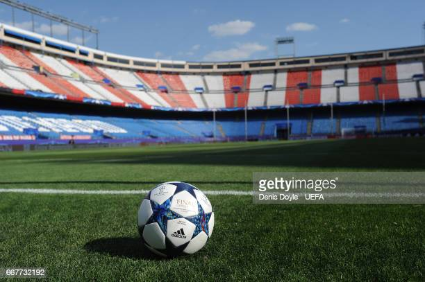 View of the UEFA Champions League matchball ahead of the UEFA Champions League Quarter Final first leg match between Club Atletico de Madrid and...