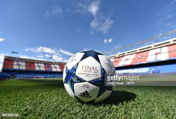 View of the UEFA Champions League matchball ahead of the UEFA Champions League Semi Final second leg match between Club Atletico de Madrid and Real...