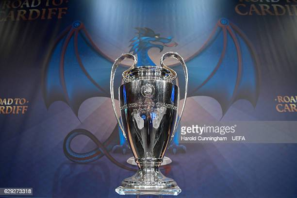 A view of the UEFA Champions League trophy ahead of the UEFA Champions League 2016/17 Round of 16 Draw at the UEFA headquarters The House of European...
