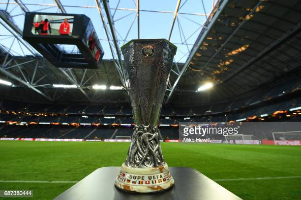 A view of the UEFA Europa League trophy ahead of the UEFA Europa League Final between Ajax and Manchester United at Friends Arena on May 23 2017 in...
