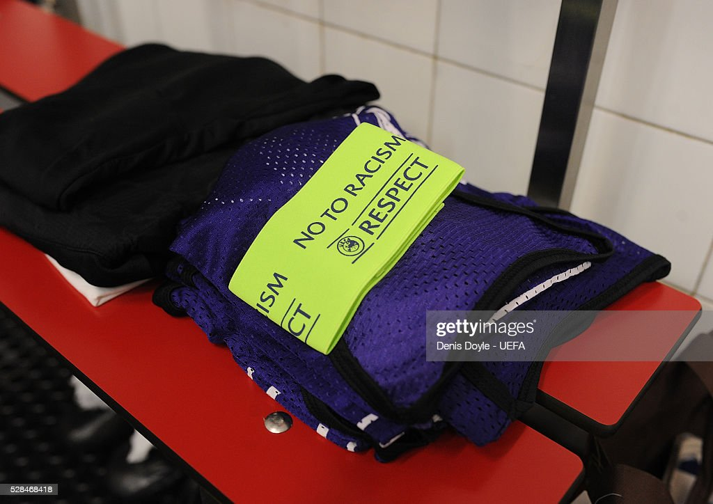 View of the UEFA ''No to Racism, Respect'' armband in the Shakhtar Donetsk dressing room ahead of the UEFA Europa League Semi Final second leg match between Sevilla and Shakhtar Donetsk at the Sanchez Pizjuan stadium on May 5, 2016 in Seville, Spain.