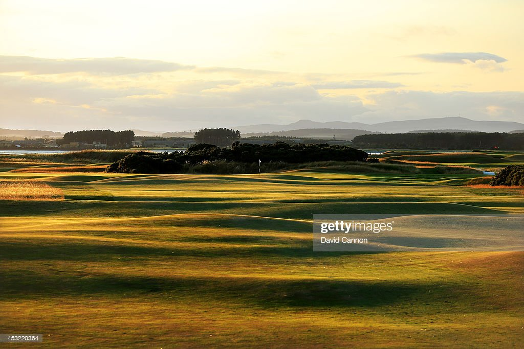 A view of the undulating fairway in the evening shadows on the 412 yards par 4, 6th hole 'Heatherly Out' on the Old Course at St Andrews venue for The Open Championship in 2015, on July 29, 2014 in St Andrews, Scotland.