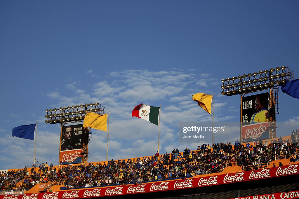 View of the University Stadium during a friendly match between Tigres and Cruz Azul as previous to the MX League Clausura 2013 at the University Stadium on December 29, 2012.