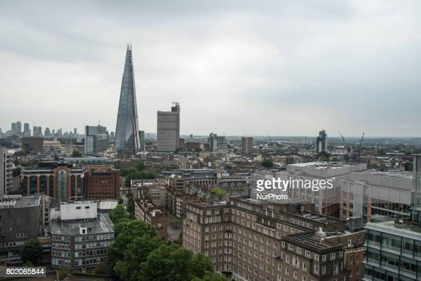 View of the urbanization of the London' Southbank with The Shard London on June 27 2017 The Shard is a 95storey skyscraper in Southwark that forms...