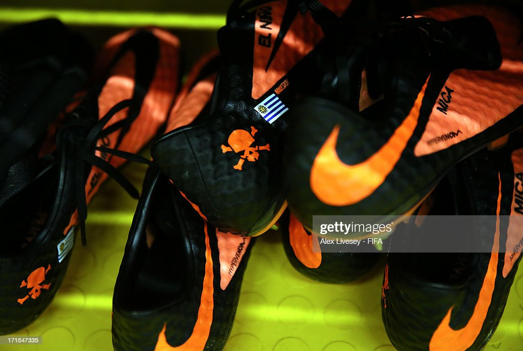 View of the Uruguay team's boots in their dressing room prior to the FIFA Confederations Cup Brazil 2013 Semi Final match between Brazil and Uruguay at Governador Magalhaes Pinto Estadio Mineirao on June 26, 2013 in Belo Horizonte, Brazil.
