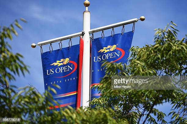 A view of the US Open logo as seen from the grounds on Day Five of the 2016 US Open at the USTA Billie Jean King National Tennis Center on September...