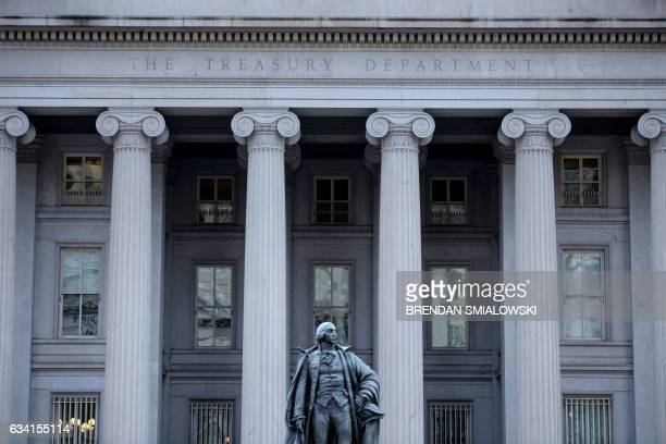 A view of the US Treasury February 7 2017 in Washington DC US President Donald Trump recently signed two executive actions asking the Treasury and...