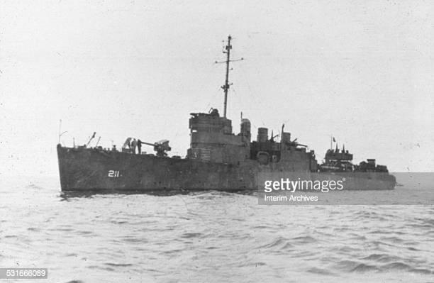 View of the USS Alden an American Clemson class destroyer at sea during World War II 1940s