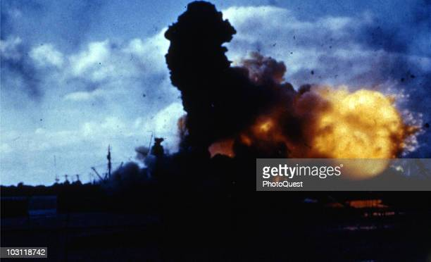 View of the USS Arizona midexplosion during the Japanese attack on Pearl Harbor Hawaii December 7 1941