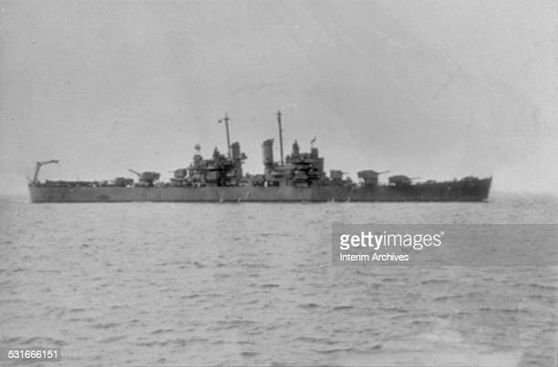 View of the USS Cleveland an American light cruiser at sea during World War II 1940s