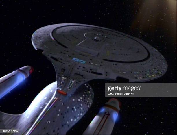 View of the USS Enterprise in a scene from the final episode of the television series 'Star Trak The Next Generation' entitled 'All Good Things' May...