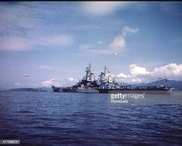 View of the USS Missouri during her shakedown cruise August 1944 The USS Alaska is in the left distance