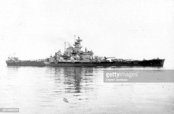 View of the USS South Dakota an American battleship at sea during World War II 1940s