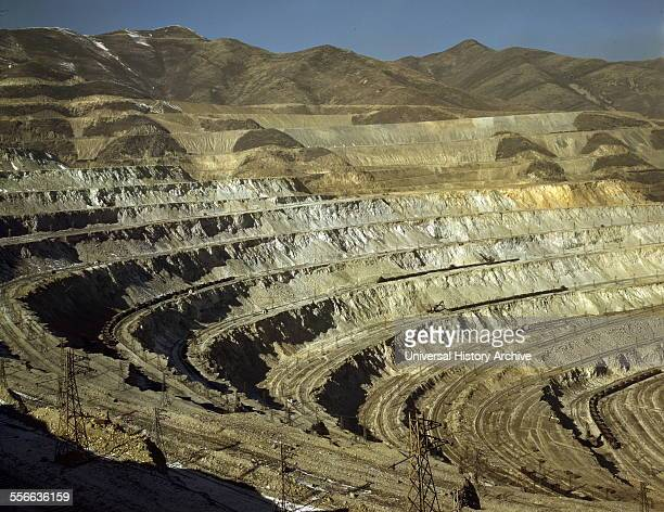 View of the Utah Copper Company with openpit mine workings at Carr Fork as seen from the railroad Bingham Canyon Utah 1942