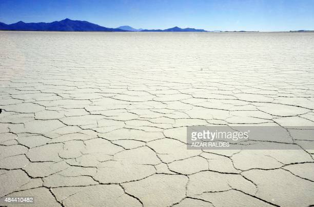 View of the Uyuni salt pan south from La Paz on August 17 2015 The Bolivian government on Sunday signed a contract with German company KUtec AG Salt...