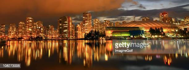 View of the Vancouver skyline at night.