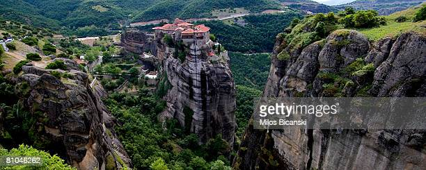 A view of the Varlaam Monastery at Meteora on May 9 2008 in Athens Greece Monks and hermits have found refuge for over 1000 years at the gigantic...