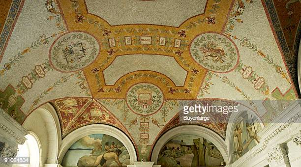 View of the vaulted ceiling of the Great Hall of the Thomas Jefferson Building which houses part of the Library of Congress Washington DC 2007 Among...
