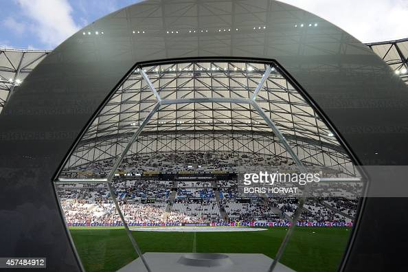 View of the Velodrome stadium before the French L1 football match Olympique de Marseille versus Toulouse at the Velodrome stadium in Marseille on...