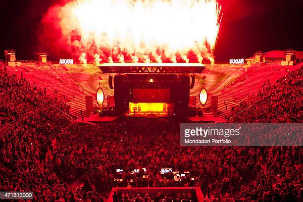 View of the Verona Arena and the stage prepared for the five concerts of the Italian singer Zucchero pseudonym of Adelmo Fornaciari Verona September...