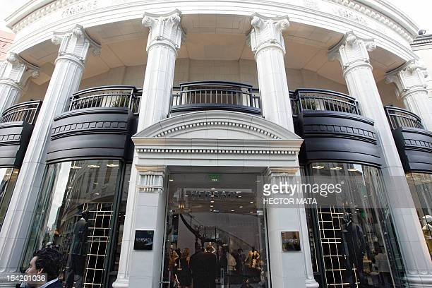 A view of the Versace store on Rodeo Drive is pictured during the Rodeo Drive Walk of Style ceremony honoring Donatella Versace and the Versace House...