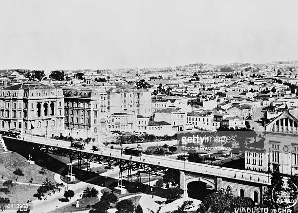 A view of the Viaduto do Cha in Sao Paulo Brazil August 1924