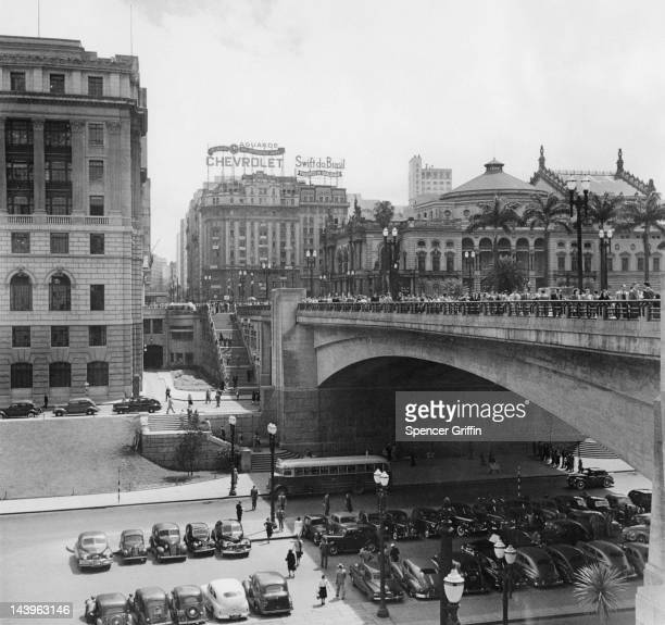 A view of the Viaduto Do Cha over the Rua Formosa with the Alexander Mackenzie Building on the left and the Theatro Municipal on the right Sao Paulo...