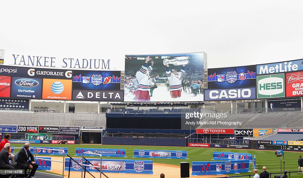 A view of the video board showing the 1994 Stanley Cup victory by the New York Rangers during the 2014 NHL Stadium Series Media Availabilty at Yankee Stadium on August 8, 2013 in New York City.