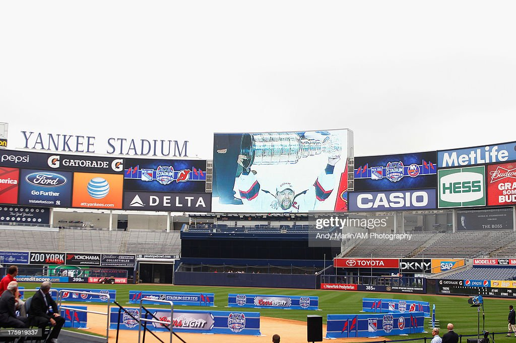 A view of the video board showing the Stanley Cup victory by the New Jersey Devils during the 2014 NHL Stadium Series Media Availabilty at Yankee Stadium on August 8, 2013 in New York City.