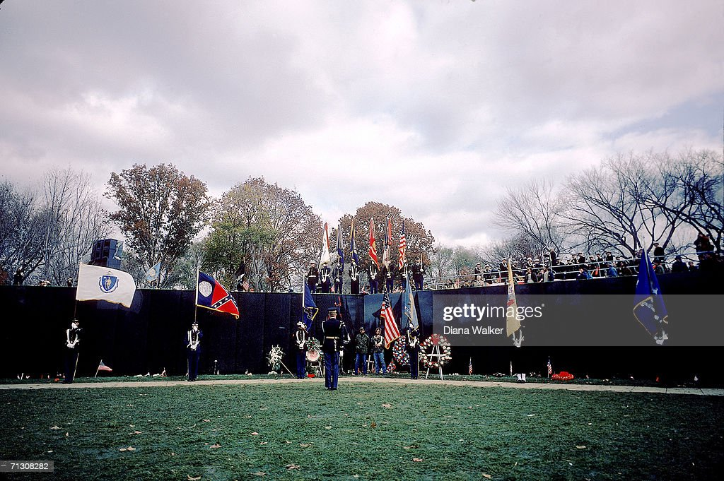 View of the Vietnam Veterans Memorial (designed by Maya Ying Lin) during its dedication ceremony, Washington DC, November 13, 1982.