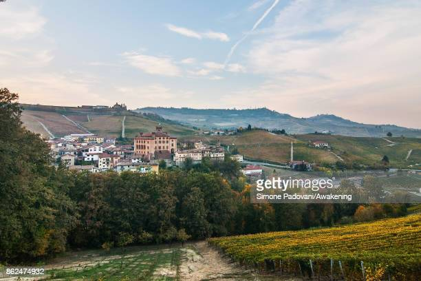 A view of the vilage of Barolo is seen on October 17 2017 in the Barolo region Italy Because of the high summer temperatures Barolo's harvest has...