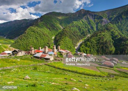 View of the village Adishi : Stock Photo