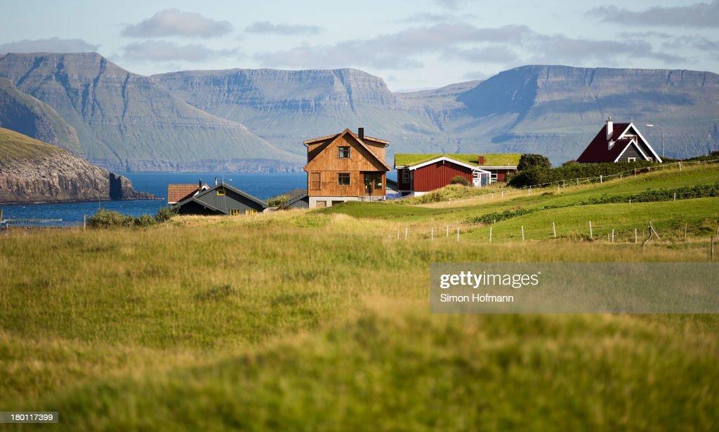A view of the village Midvagur on September 7 2013 in Midvagur Faroe Islands