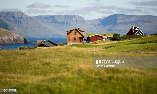 A view of the village Midvagur on September 7 2013 in Midvagur Faroe Islands