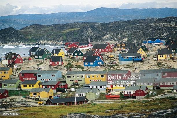 View of the village of Ilulissat Disko Bay Qaasuitsup municipality Greenland