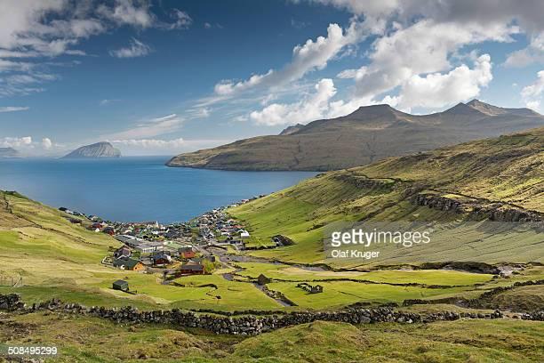 View of the village of Kvivik, Streymoy, Faroe Islands, Denmark