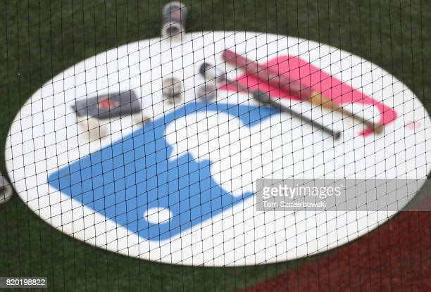 A view of the visitors' ondeck circle with the MLB logo on it and a variety of weighted bats and donuts and pine tar and batting sleeves as seen...